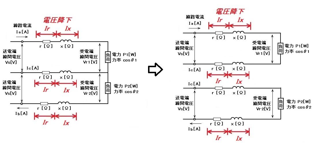 単相3線式電圧降下(不平衡負荷)