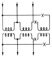 単相変圧器3台