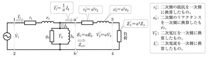 一次側に換算した等価回路