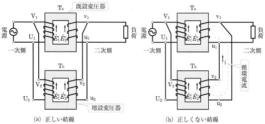 単相変圧器の並列結線