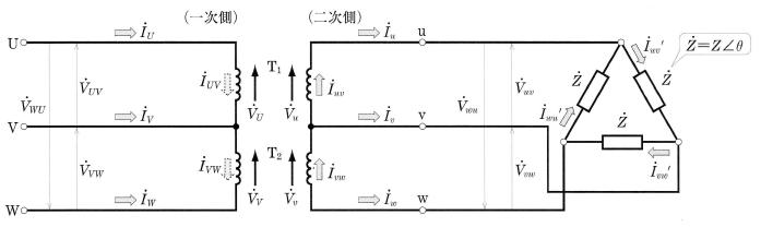 V―V結線の電圧と電流
